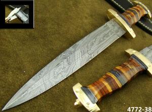 HANDMADE DAMASCUS STEEL KNIFE DOUBLE EDGE SWISS DAGGER HUNTING KNIFE 4772-38