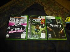 XBOX LIVE XBOX 360 CO DUTY BLACK OPS Splinter Cell Tony Hawk AW Lot Of 3 W Books