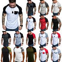 Mens Summer Raglan Sleeve Casual Tops Baseball T-Shirt Slim Muscle Tee Shirts