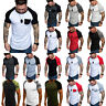 Mens Summer Raglan Sleeve Casual Tops Baseball T-Shirt Slim Muscle Tee Shirts