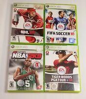 NBA 2K9, NHL 08, Tiger Wood PGA 08, FIFA 10, XBOX 360 Sports Video Game Lot of 4