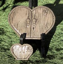 Cast Stone Heart Fairy Door & Window. W/ Lady Beetle Door Knockers.