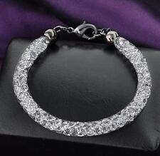 Women's Love White Gold  Plated with Crystals Bracelet Bangle Trendy Jewelry