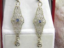 ANTIQUE VINTAGE 14KT WHITE GOLD SAPPHIRE DIAMOND DECO FILIGREE DANGLE EARRINGS