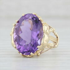 11.90ct Amethyst Elephant Ring 10k Yellow Gold Size 5 Oval Solitaire