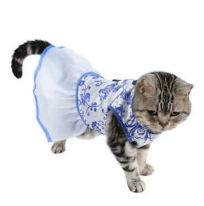 Pet Dog Dress Vintage Chinese Style Blue and White Porcelain Princess Costume