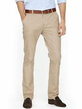 Pantaloni da uomo beige in cotone slim