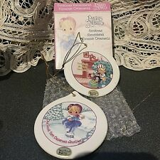 Sale New 2 Precious Moments Christmas Remembered Porcelain Ornaments Love