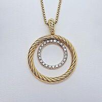 David Yurman 18K Yellow /White Gold Diamond Circle Necklace W / Chain Extension