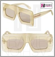 8679adef0ab KAREN WALKER Enlightened Yellow Glitter Flash Mirrored Square Sunglasses  1401519
