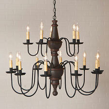 Harrison Two Tier 15 Arm Wooden Chandelier Americana Espresso w/ Salem Brick NEW