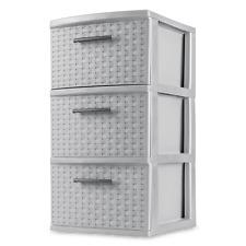 3 Drawer Weave Tower Organizer Plastic Gray Storage Box Plastic Dresser