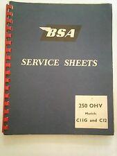 BSA 250 OHV C11G C12 SERVICE SHEETS ( BOOK ) GENUINE