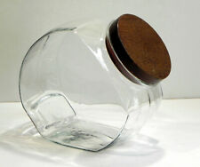 CANDY JAR Store Counter Display 1940s? Original Wooden Top Heavy Glass Gallon+