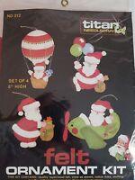 Santa Felt Christmas Ornaments Set of 4 Titan Needlecraft 312 NEW 1983