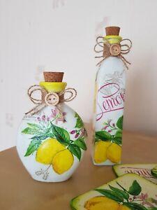 Shabby chic bottle 100 ml,set of two,perfume, cork tops handmade,lemons