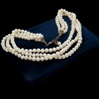 Antique Vintage Deco Sterling Silver South Sea Pearl 3 Strand Bead Necklace 79g