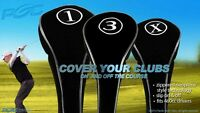 COMPLETE 1 3 X WOODS NEW SET HEAD COVERS GOLF CLUB DRIVERS FULL BLACK HEADCOVER