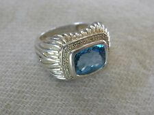 Unisex Ring Size 9 Topaz, Diamond Pave Sterling Silver