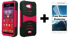 Kyocera Hydro Wave C6740 Rugged Phone Case + Screen Protector - Black/Pink