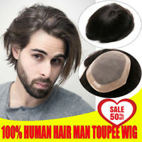 Mono Base With PU Coat Man Toupees Wig Replacement 100% Human Hair Hairpieces US