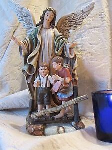 "9"" Resin Guardian Angel with Children Feast Day October 2nd"