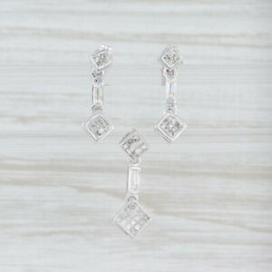 0.36ctw Diamond Drop Earrings Pendant Set 14k White Gold Baguettes
