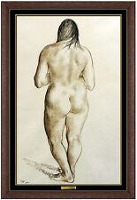 Francisco Zuniga Original Conte Crayon Nude Drawing Signed Portrait Artwork SBO