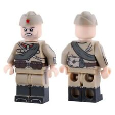 Custom WW2 Russian Soldier Minifigure w/ M35 Pilotka Cap Mini-figure Front Back