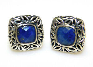 Angela by John Hardy 925 Sterling Silver Faceted Blue Lapis Post Earrings