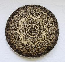"28"" Black Gold Mandala Round Pillow Cover Floor Decorative Cushion Covers Throw"