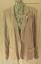 BUTTERFLY MATTHEW WILLIAMSON putty pink gold bead trim pockets jacket 14 42 NEW