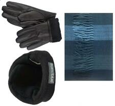 Mens Black Leather insulated Fur Pu Gloves Soft Cashmere Feel Scarf with...