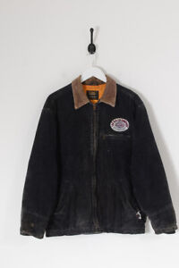 Vintage Lee Patch Quilted Lined Corduroy Jacket Charcoal (M)