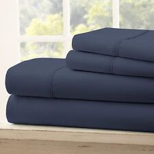 Premium Hotel Quality 4 Piece Bed Sheet Set   11 Designs Solid Twin Navy