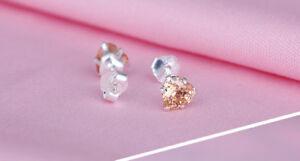 Ohrstecker Ohrringe Herz Herzchen Kristall champagnerfarben 925 Sterling Silber