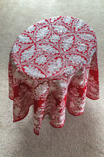 Round Embroidered Cotton Red Tablecloth Made in Syria