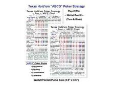 (Buy-Bulk) 200ct Texas Holdem Poker ABCD Strategy Play-2-Win Wallet Cards I & II