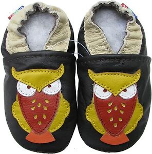 carozoo owl dark brown 2-3y soft sole leather toddler shoes