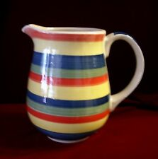 Swirl Hand Painted Pitcher-9 cups-Orange Yellow Blue Green in Horizontal Stripes