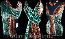 Scarf Wrap Hand Dyed by Maya Matazaro Silk Burnout Velvet Brown Deep Green Ombre