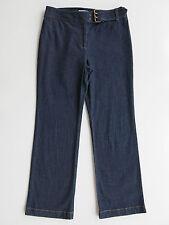 Ann Taylor Loft Stretch Dark Blue Denim Mid Rise Straight Belted Jeans 10P x 29
