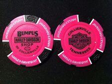 """Harley Davidson Poker Chip (NEON Pink & Black) """"Bumpus Shop"""" Collierville,TN."""