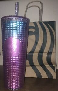 Starbucks Summer 2021 Pink and Blue Grid 24oz Tumbler Teal Cold Cup..
