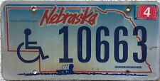 GENUINE  Nebraska Handicapped Wagon License Licence Number Plate Tag 10663