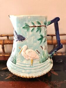 Large Old Majolica Pitcher