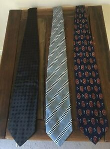 mens 100% Silk Neck Tie X 3 Country Road Italian / Aus Made Excellent Condition
