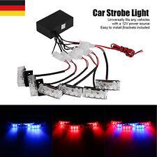 Auto DC12V Blue & Red Led Car Emergency Warning Strobe Lights Deck Dash Grille