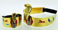 Egypt Египет Pharaoh Costume Brass Cleopatra Cobra Crown and Armlet Halloween