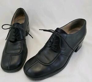 Women's Enzo Angiolini Black Ankle Split Toe Oxford Boots Block Heels Size 8 N